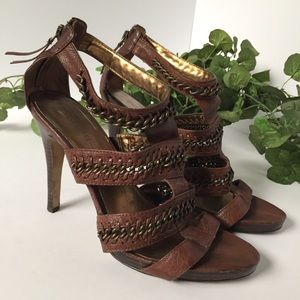 Nine West size 8.5 braided strappy metal heels